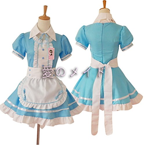 Tomato eggs Anime Cosplay Costume French Maid Outfit Halloween, 4 pcs as a Set Including Dress; Headwear; Apron; Fake Collar (Blue, Size L)]()