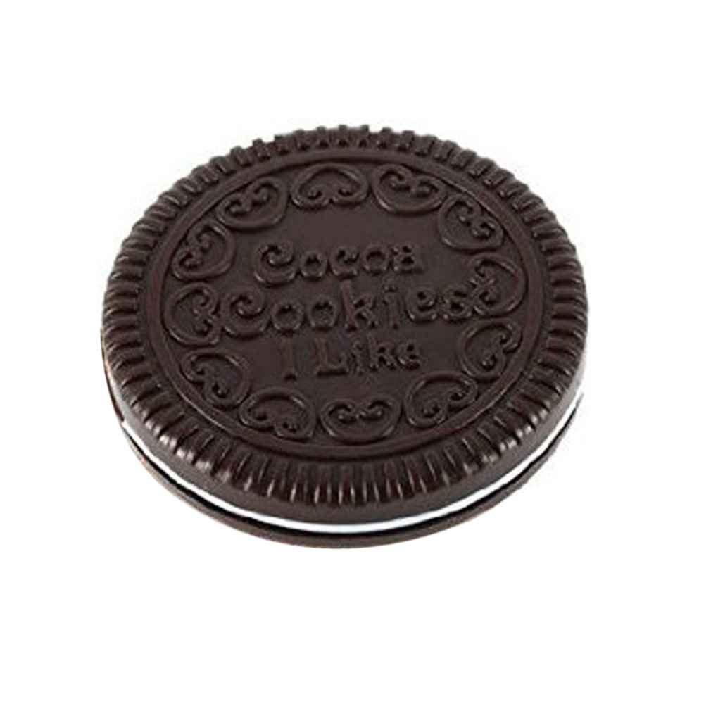 ELENXS Cookie Mignon de Chocolat Portable Forme Maquillage Miroir cosmétique Peigne Fille