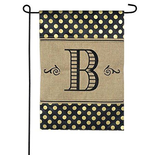 JEC Home Goods Burlap Monogram Garden Flag - Gold Polka Dot