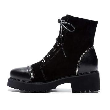 Botas de moda para mujer, botas de cuero de otoño / invierno, de confort