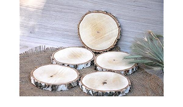 Juego de cinco 10-13cm rodajas de abedul Portavasos redondos Posavasos de madera Rodaja de madera rústica para decoración de centro de mesa Decoración de ...
