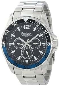 Armitron Men's 20/4829BBSV Black Dial Multi-Function Silver-Tone Bracelet Watch