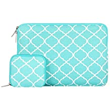 Mosiso Quatrefoil Style Canvas Fabric Laptop Sleeve Bag Cover for 11-11.6 Inch MacBook Air, Ultrabook Netbook Tablet with a Small Case, Hot Blue