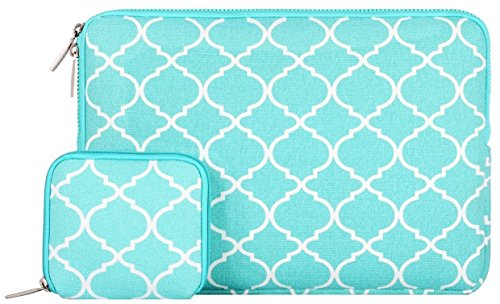 Mosiso 2017 / 2016 MacBook Pro 13 Inch Sleeve (A1706 / A1708) / Microsoft New Surface Pro 2017 / Surface Pro 4 / 3 Quatrefoil Canvas Laptop Bag Cover with Small Case, Hot Blue