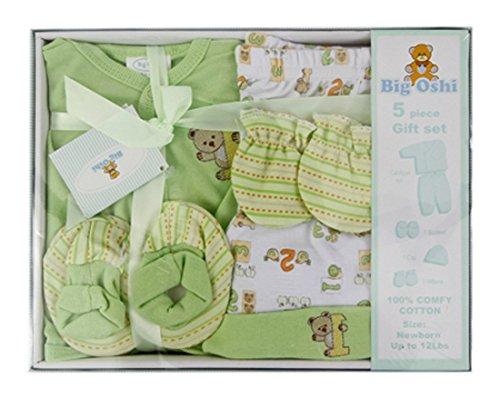 Big Oshi 5 Piece Layette Gift Set, Green (Green Layette)