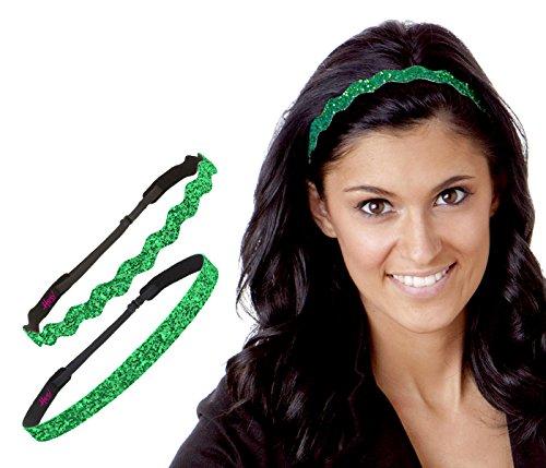 Price comparison product image Hipsy Women's No Slip Headband St. Patrick's Day Bling Glitter Pack (Skinny & Wave Bling 2pk)