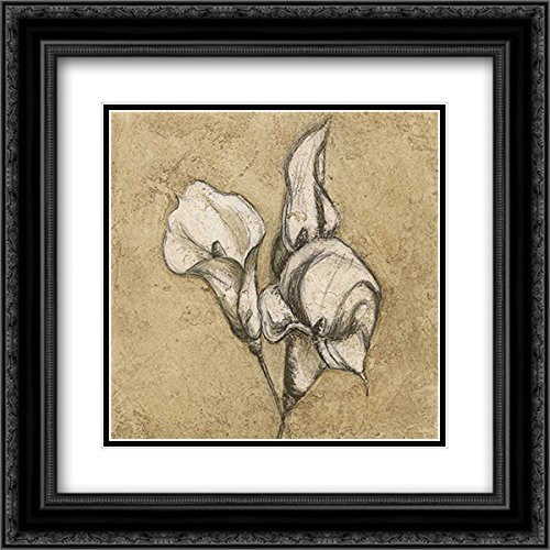 Calla Lily I 20x20 Black Ornate Frame and Double Matted Art Print by Emery, Kristin