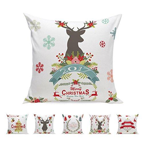 Merry Christmas! Pillowcase,Super Soft Xmas Santa Elk Letters Printed Cushion Cover Home Decor Square Throw Pillow Case (Free Size, C)