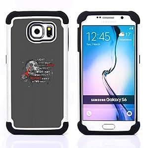 """Samsung Galaxy S6 / SM-G920 - 3 en 1 impreso colorido de Altas Prestaciones PC Funda chaqueta Negro cubierta gel silicona suave (Estrella de la Muerte"""")"""