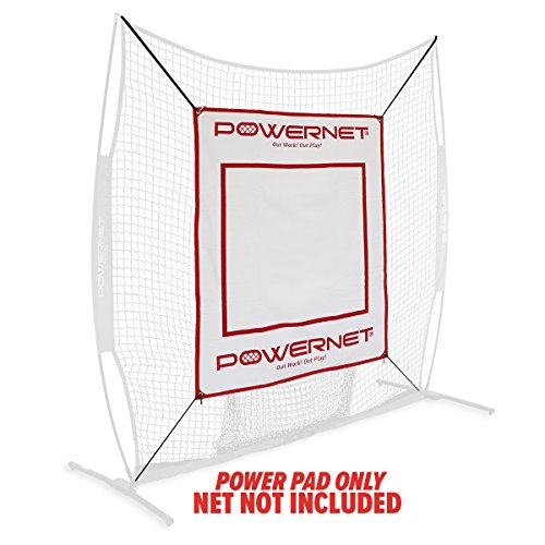PowerNet Power Pad Canvas Batting Pitching Backstop for Baseball Softball 46 x 59 Protection Area with Red Strike Zone 1 4 High Density Foam Padding Perfect for Cages or on Hitting Net