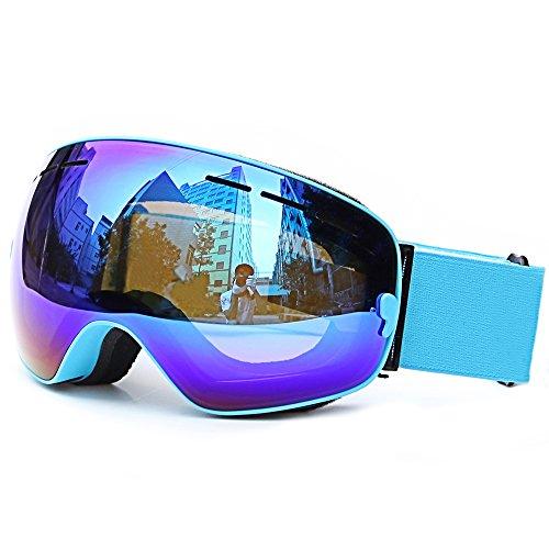 Ski Goggles, Loyalfire Polarized Snow Goggles with Double Layers UV Protection Anti-Fog Myopia Frame Ski Mask Glasses Skiing Men Women Kids Snow Snowboard Goggle