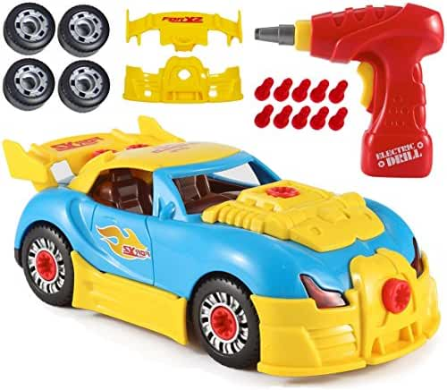 CoolToys Custom Take-A-Part Car Playset – Sports Car with Electric Play Drill and 30 Car Modification Pieces – Motion Activated Lights and Sounds