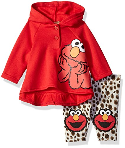 Sesame St Girls' 2 Piece Elmo Fleece Hoodie and Printed Legging with Knee Patches, Red, 12 Months