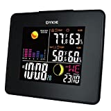 QERY Wireless Color Weather Station Black with Backlight Indoor Outdoor Temperature Humidity Weather