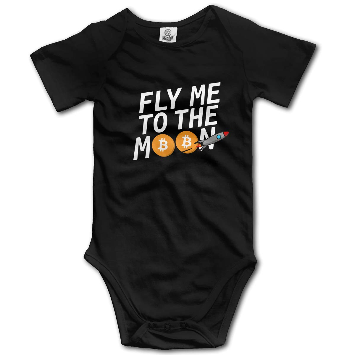 CDHL99 Fly Me to The Moon Unisex Solid Baby Short Sleeve Layette Bodysuit 0-2T