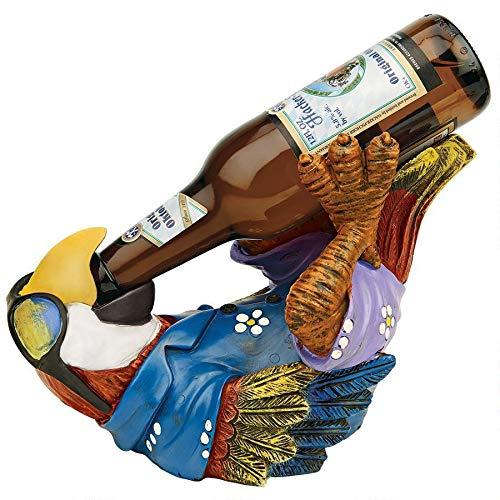 Design Toscano Beer Buddy Tropical Tiki Parrot Bottle Holder Statue, 10 Inch, Polyresin, Full Color