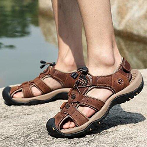 Shoes Traspiranti Pelle Sandali In Da Sandali Estivi Beach ZHONGST Uomo Vera Darkbrown Baotou Outdoor p0zBBqw7