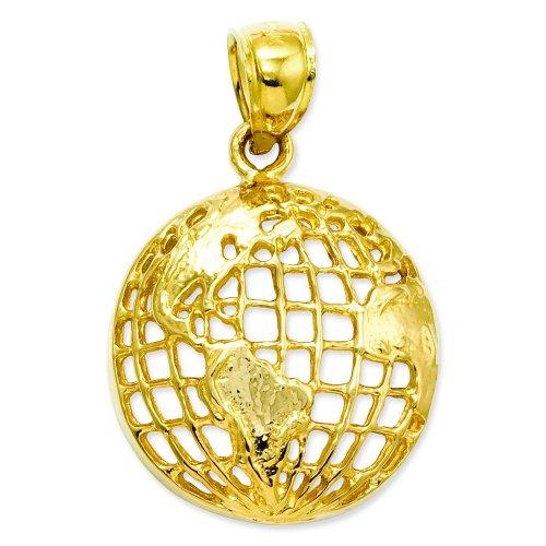 (14K Yellow Gold Globe Charm Polished World)