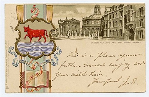 Exeter College & Sheldonian Theatre Oxford Coat of Arms UDB Tuck Postcard 1905