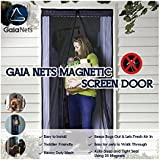 Gaia Nets Magnetic Screen Door Lace Detail, Easy Install Heavy Duty Mesh Curtain and Full Frame Velcro Fits Door Openings, Black