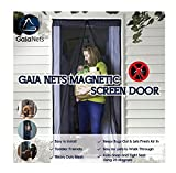 Gaia Nets Magnetic Screen Door Lace Detail, Easy Install Heavy Duty Mesh Curtain and Full Frame Velcro Fits Door Openings, Black, 2 Sizes (37x82)
