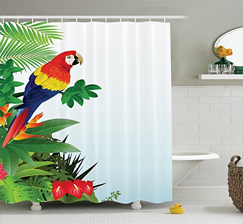 [Parrots Decor Collection Macaw Bird in the Tropical Forest Flowers Big Leaves PlantsWildlife Vibrant Color Art Polyester Fabric Bathroom Shower Curtain Set with Hooks Red] (Parrot Costume Ebay)