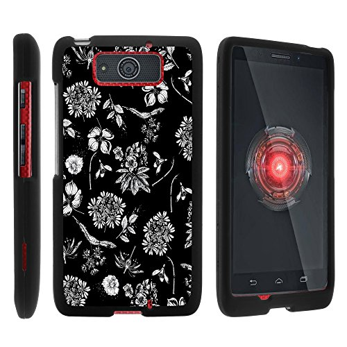 Motorola DROID MAXX Case, Slim Hard Shell Snap On Case with Custom Images for Motorola DROID MAXX XT1080 from MINITURTLE - Black White Flowers (For Cases Phone Motorola Girls)