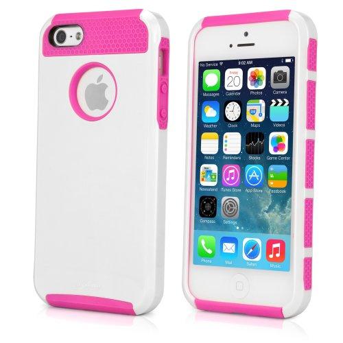 BoxWave Étui DUOCOLOR Apple iPhone 5s Coque–Coque hybride en silicone et en plastique rigide–Colorful Apple iPhone 5s et coques (Blanc/Rose)