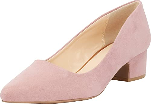 6a9078fc59060 Cambridge Select Women's Closed Pointed Toe Slip-On Chunky Low Block Heel  Pump