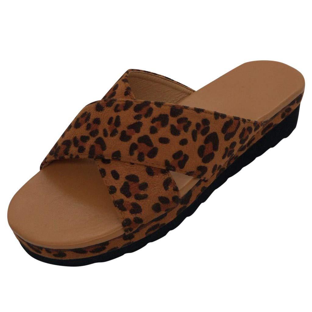 Women's Slippers,Sharemen Fashion Leopard Wedges Roman Sandals Flat Non-Slip Open Toe Platform Sneakers(Yellow,US: 5.5)