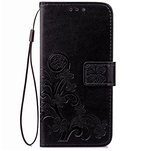 Galaxy J3 2018,J3 Achieve,J3V J3 V 3rd Gen,J3 Star,Amp Prime 3 Case,[Flower Embossed] Leather Wallet Flip Protective Case Cover with Card Holder and Stand for Samsung Galaxy J3 2018 J337 (Black)