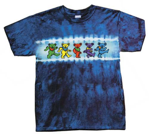 Grateful Dead Youth Size DANCING BEARS Tie Dye Kids T-shirt Tee Shirt, Small (6-8)