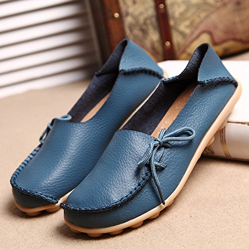 01blue Moccasin Slip Leather s Slippers Women' Indoor On EQUICK Outdoor Shoes Casual Loafers Driving Flat wBX6WPxPqO