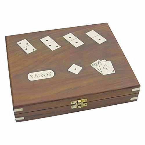 Würfelspiel in maritimer Holzbox aus Edelholz Messing Würfel Box