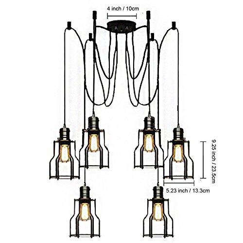 baycheer vintage ceiling lamp hanging lighting edison multiple adjustable diy ceiling spider