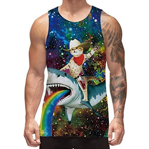 Freshhoodies Funny Tank Tops for Men Galaxy Cat Shark Beach Stylish Sleeveless Graphic Tee Shirts Bodybuilding Sports Tank Shirts (Cat on Shark, Large)