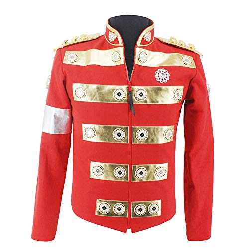 Michael Jackson Costume Jacket Africa Red Handmade Jacket Charity Tour with Child England Style Costume in 1994's (XL, Jacket only) -