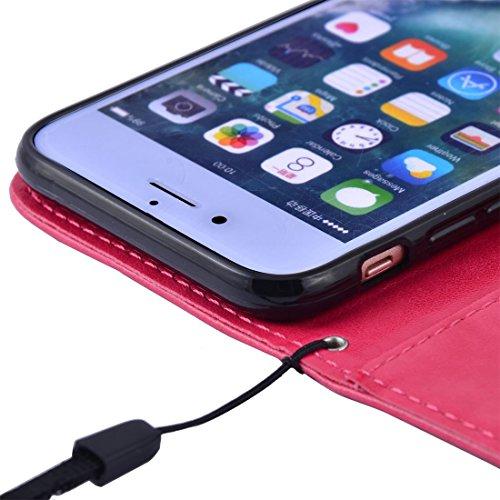 Amazon.com : eDealMax Faux LeatherFlower Patrón cubierta del teléfono de la carpeta del tirón Casos Shell Protector rosa impactante Para el iPhone 7 ...