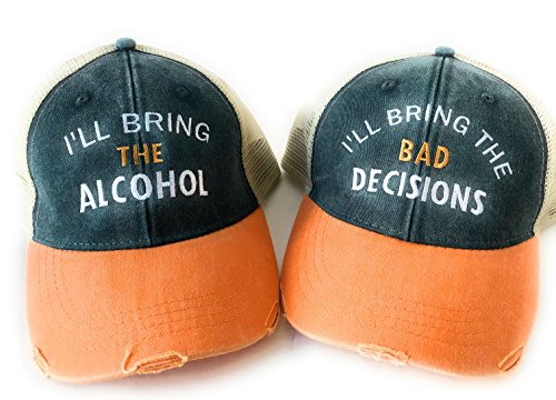 Set of 2 I'll Bring The Alcohol/Bad Decisions Navy Blue and Orange Distressed