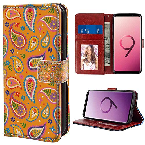 Samsung Galaxy S9 Plus Wallet Case, Ethnic Bohemian Ornamental Paisley Design with Floral Tiny Motifs Built-in Droplet Shapes Multicolor PU Leather Folio Case with Card Holder and ID Coin Slot