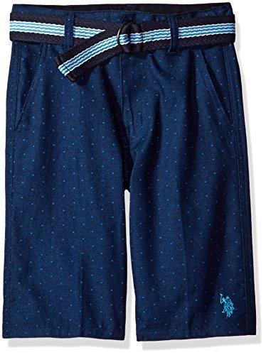 U.S. Polo Assn... - Pantalón Corto para niño con cinturón, Azul Marino clásico, 2 Años