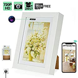 16GB 720P HD WiFi Hidden Security Camera Picture Frame with 24 Hours Continuously Video Recording, Motion Activated Recording, Loop Recording, Remote View Functions