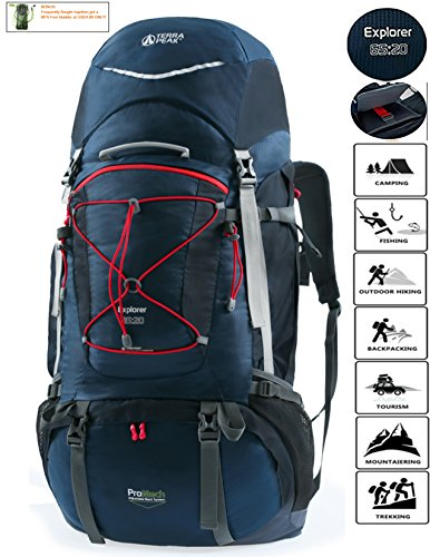 TERRA PEAK Adjustable Hiking Backpack 65L+20L for Men Women With Free Rain Cover Included - Internal Trek Frame Pack