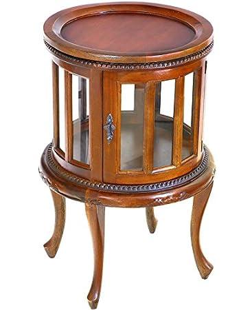 Moreko Antik Stil Beistelltisch Massivholz Mahagoni Teetisch Tablett Abnehmbar Barschrank