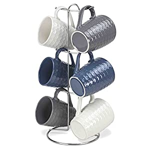 Home Basics 7 Piece Diamond Mug Set 6 11 oz Mugs and Mug Stand in Navy, Gray and White Fun and Stylish Decorative Display For your Kitchen