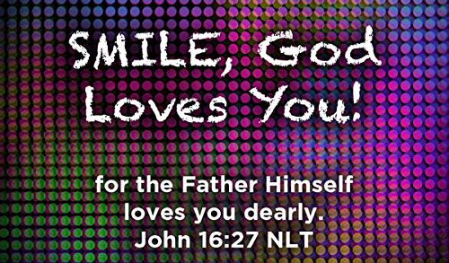Children's Christian Pass Along Pocket Scripture Cards - Smile, God Loves You | John 16:27