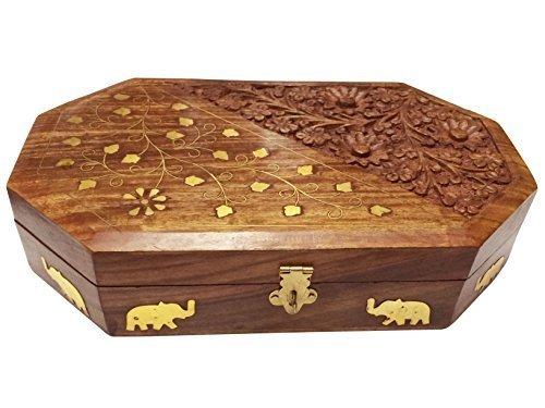 (Khandekar Wooden Jewelry Box Organizer Keepsake Storage Chest Hand Carved with Elephant Brass)