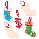 Baker Ross Christmas Stocking Ceramic Decorations (Box Of 5) For Kids Christmas Crafts And Decorations