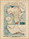 Historic Map | 1884 The graphic map of European possessions in Africa | Antique Vintage Reproduction