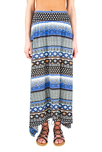 Joe B Woman High Waisted Crinkle Pleat Maxi Skirt with Handkerchief Hem, Blues/Black Amish Quilt, (Quilt Skirt)